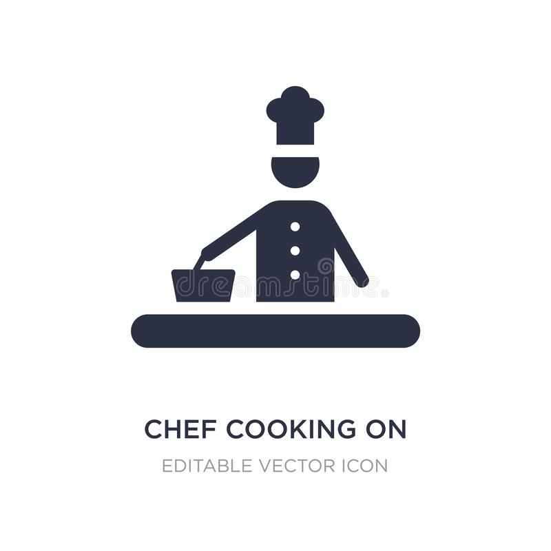 chef cooking on stove icon on white background. Simple element illustration from Food concept vector illustration