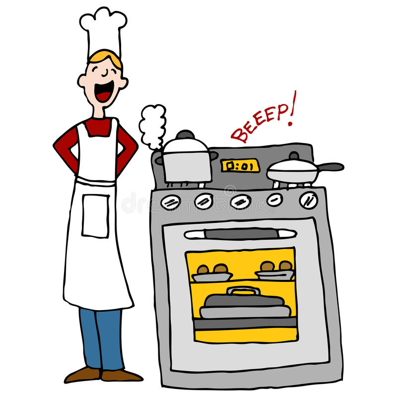 Chef Cooking Using A Timer. An image of a chef next to an over cooking food with timer beeping stock illustration