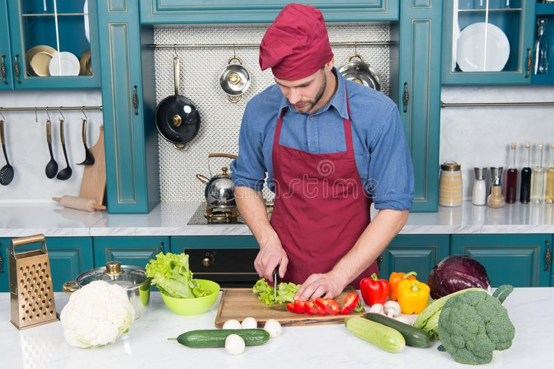 Chef cooking vegetarian recipe. Man chef wear apron cooking kitchen. Man cook vegetarian recipe with fresh vegetables stock photos