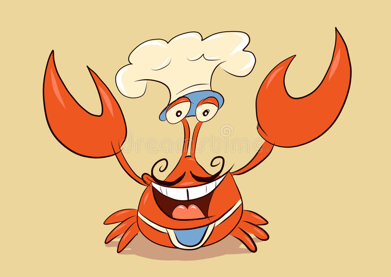 Chef crab welcome you. Chef crab wearing mustache, toque and cooking apron welcome you with smile stock illustration