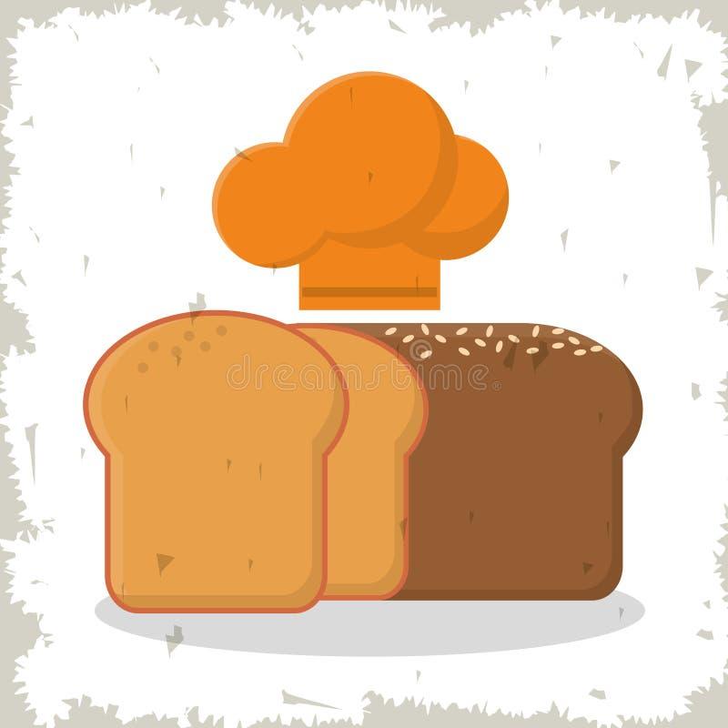 Chef cuit au four fraîchement découpé en tranches de pain et de chapeau illustration libre de droits