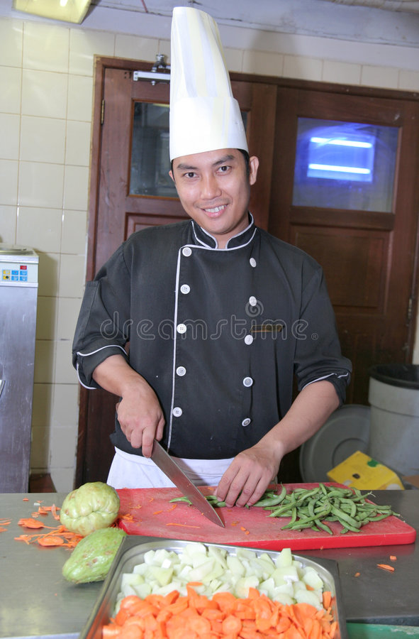 Download Chef cutting vegetable stock photo. Image of catering - 6274764
