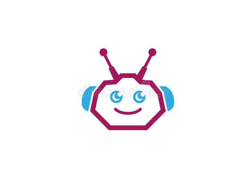 Chef, cyborg ou androïde de robot pour l'illustrateur de conception de logo illustration libre de droits