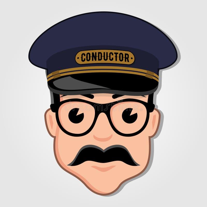 Chef d'orchestre de train Cartoon Face avec des verres illustration stock