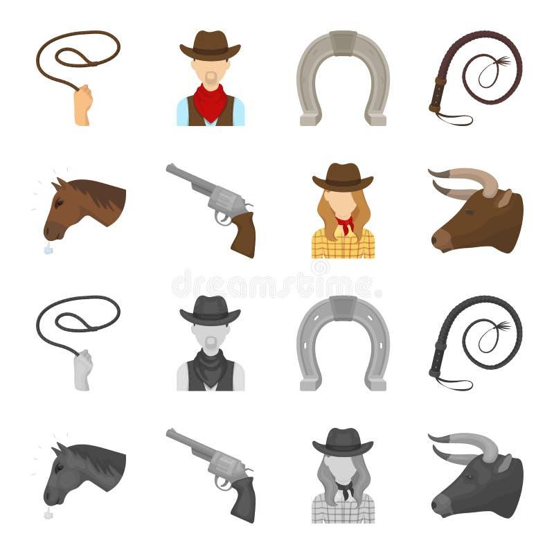 Chef d'un cheval, un chef de taureau, un revolver, une fille de cowboy Icônes réglées de collection de rodéo dans la bande dessin illustration stock