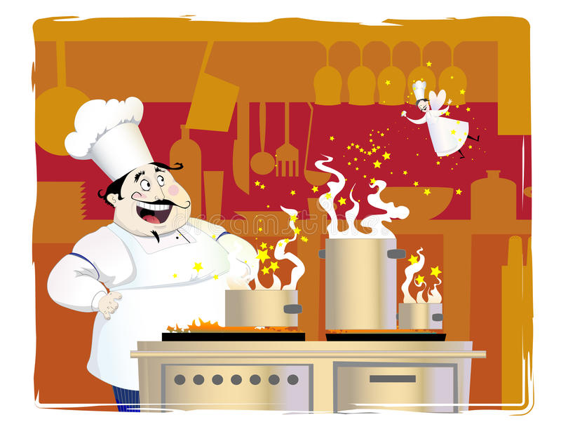 Chef dans la cuisine illustration stock
