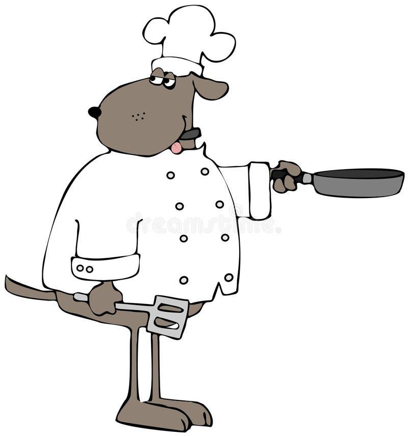 Chef de chien de Brown avec une poêle illustration libre de droits