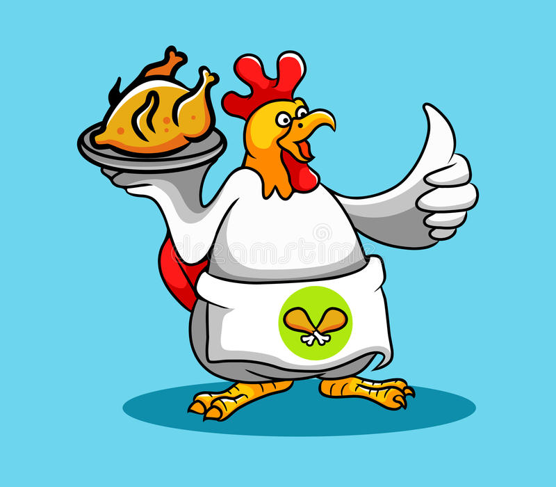Chef de coq (Fried Chicken) illustration stock