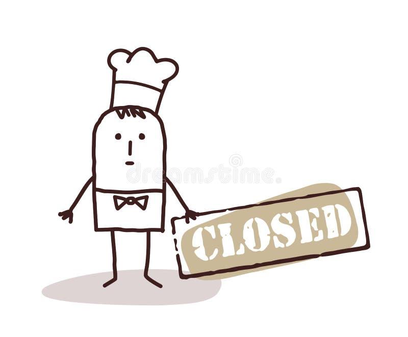 Chef de cuisinier avec le signe fermé illustration stock