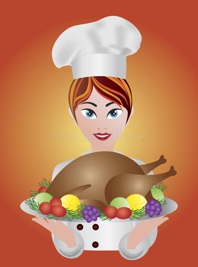 Chef de femme avec l'illustration de dîner de la Turquie de rôti illustration stock