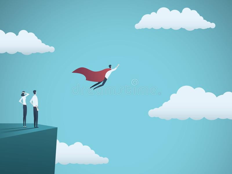 Chef de file des affaires en tant que concept de vecteur de super héros Symbole de puissance, de direction, de succès, d'ambition illustration libre de droits