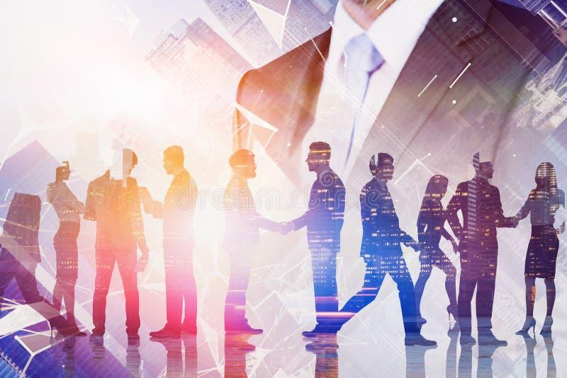 Chef de file des affaires et connexion virtuelle d'?quipe photographie stock