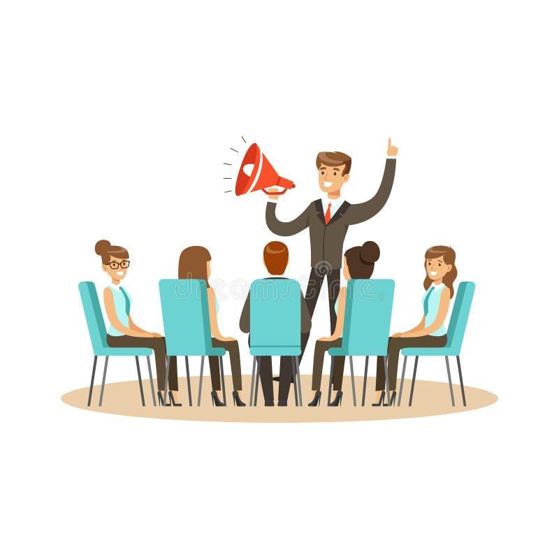 Chef de file des affaires utilisant le haut-parleur pendant l'illustration de vecteur de réunion d'affaires illustration stock