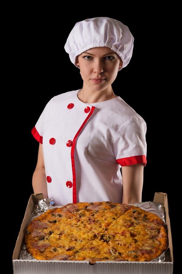 Download Chef De Fille Avec La Pizza Dans Des Mains Photo stock - Image du nourriture, fille: 76076442
