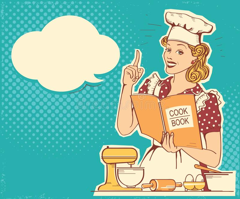 Chef de jeune femme dans de rétros vêtements de style faisant cuire et tenant le livre de cuisinier dans la salle de cuisine Fond illustration stock