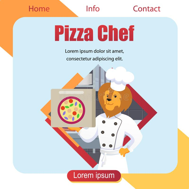 Chef de pizza avec Lion Head Dressed en faisant cuire la robe longue illustration stock