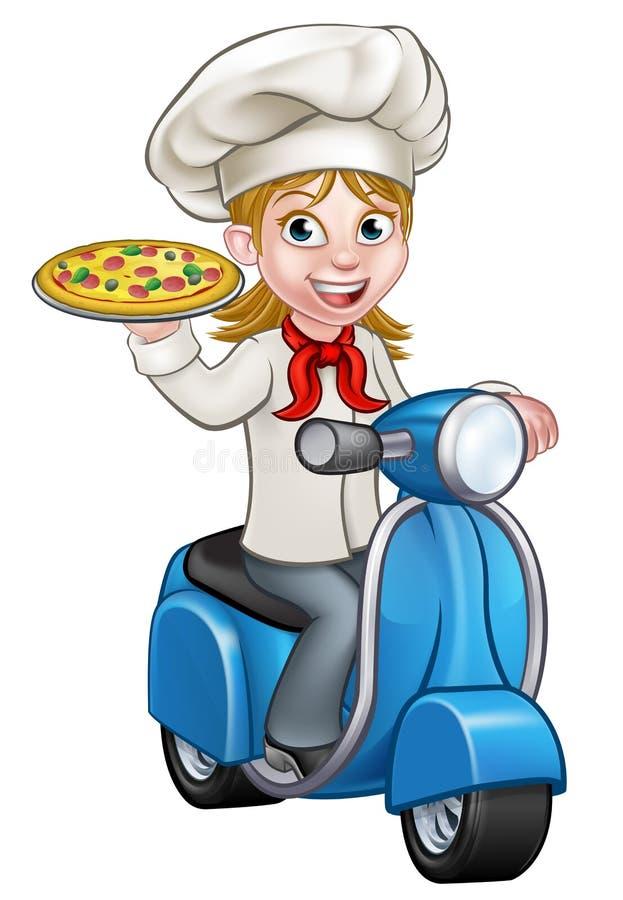 Chef de pizza de femme de bande dessinée sur livrer la pizza illustration stock