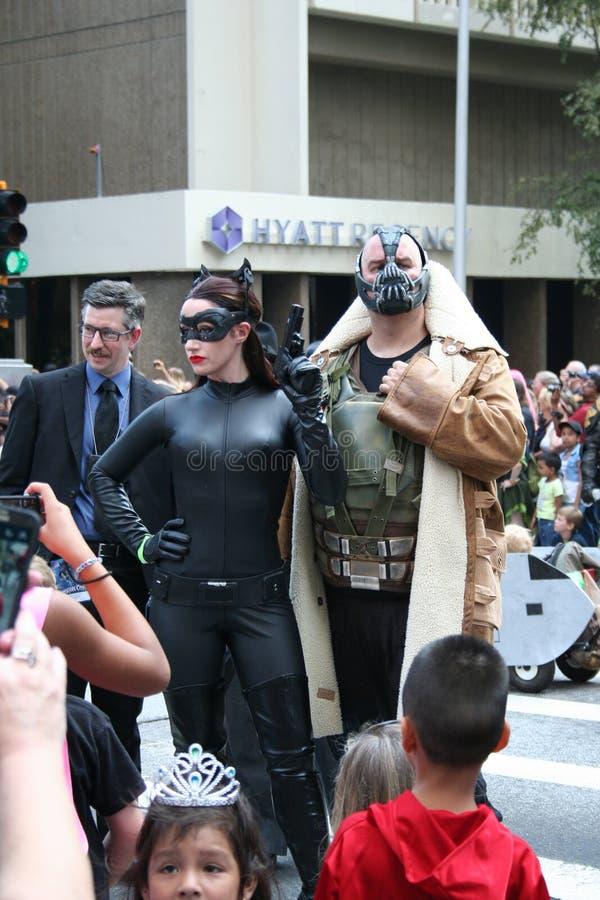Chef de police Gordon, Catwoman, et fléau image stock