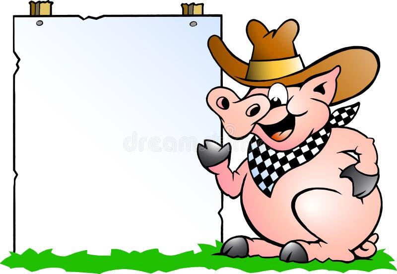 Chef de porc devant un signe illustration stock