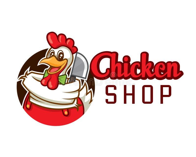 Chef de poulet de bande dessinée avec le fendoir, logo de vecteur de société illustration stock
