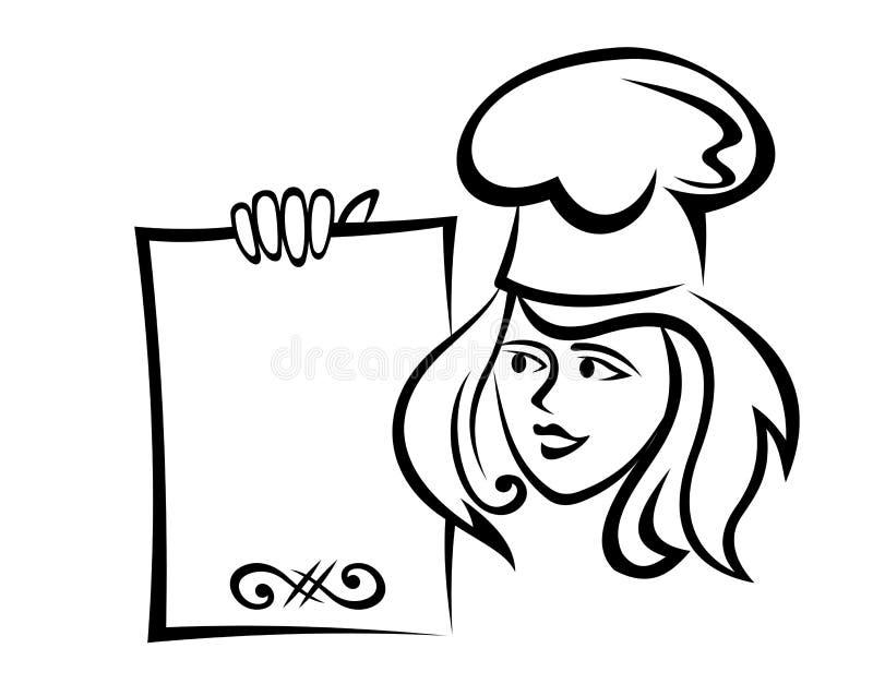 Chef de restaurant avec le papier de carte illustration stock