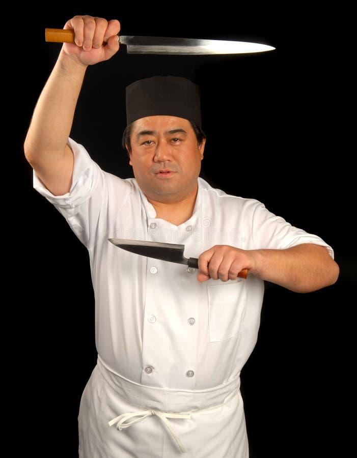 Chef de sushi japonais avec du son k photo stock