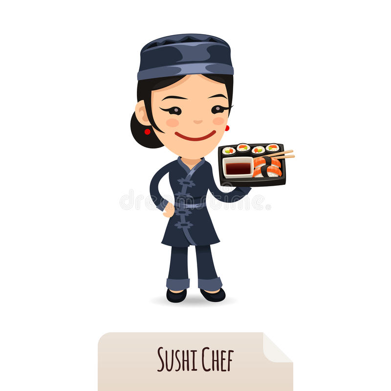 Chef de sushi With Tray illustration stock