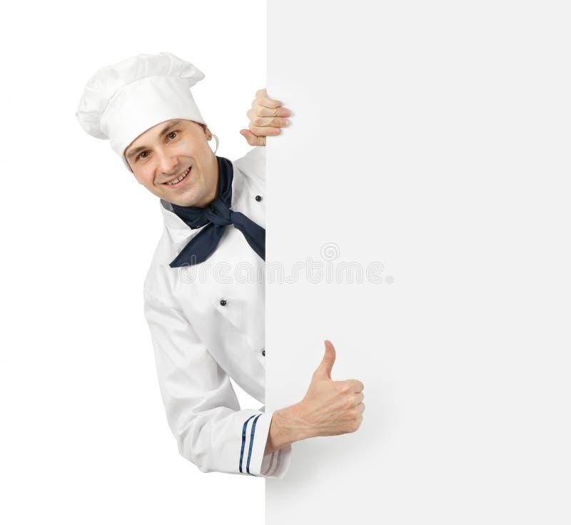 Chef, der Daumen herauf Zeichen zeigt lizenzfreies stockbild