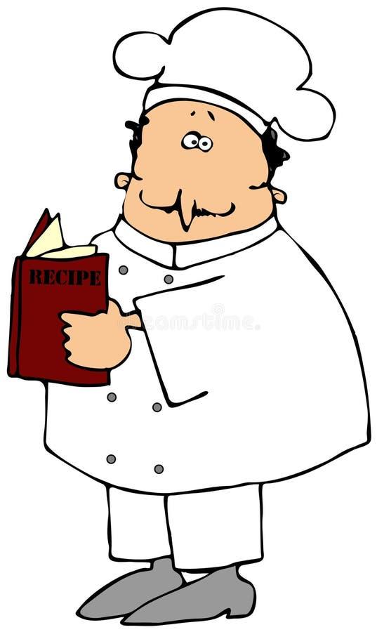 Chef, der ein Rezept-Buch liest stock abbildung