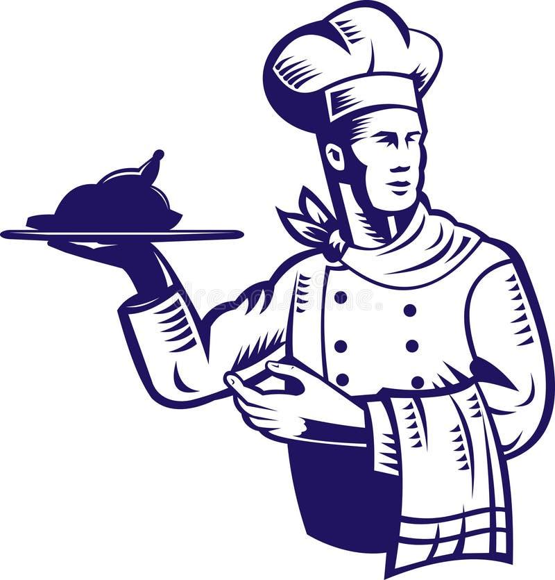 Chef, der eine Platte der Nahrung trägt lizenzfreie abbildung