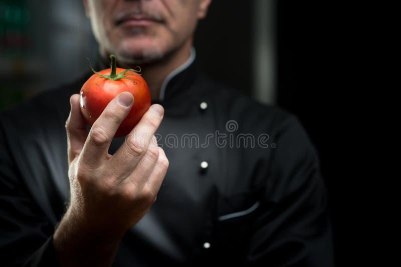 Chef, der eine Tomate hält lizenzfreie stockbilder
