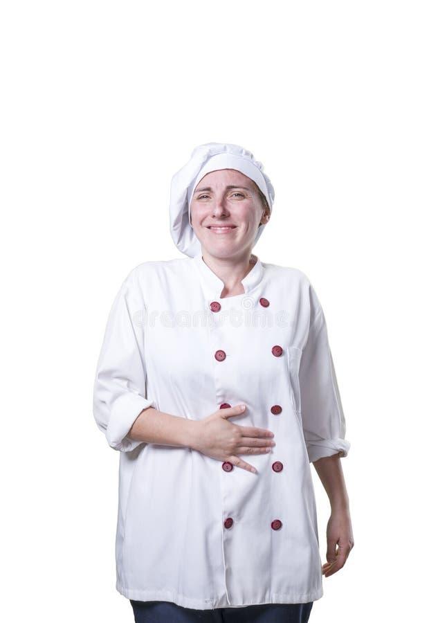 Chef der jungen Frau macht hungrige Geste stockfoto