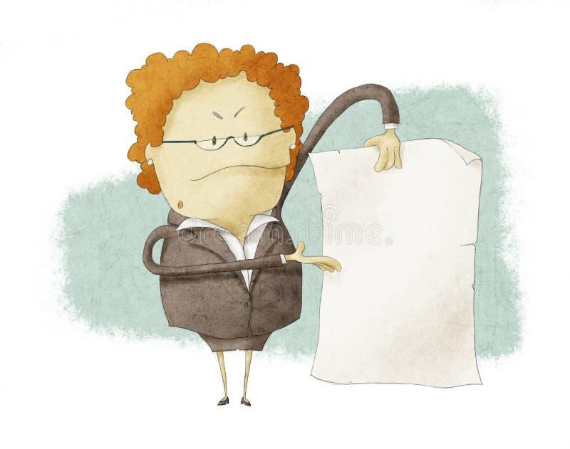 Chef, der leeres Papier anhält lizenzfreie abbildung