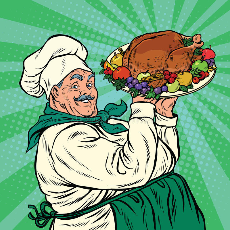 Chef with a dish roast Turkey. Pop art retro vector illustration. Christmas or thanksgiving holiday dinner royalty free illustration