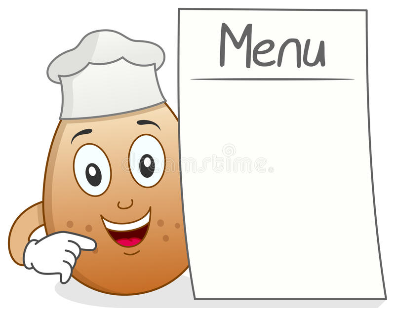 Chef Egg Character with Blank Menu. A funny cartoon chef egg character holding a blank menu, isolated on white background. Eps file available royalty free illustration