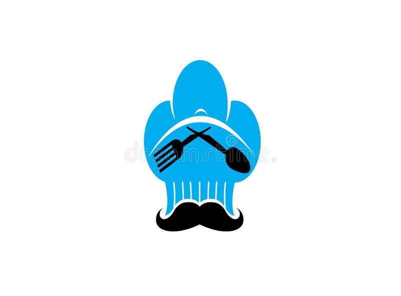Chef ein großer Hut des Kochers mit dem Schnurrbart und Löffel und Gabel für Logoentwurf stock abbildung