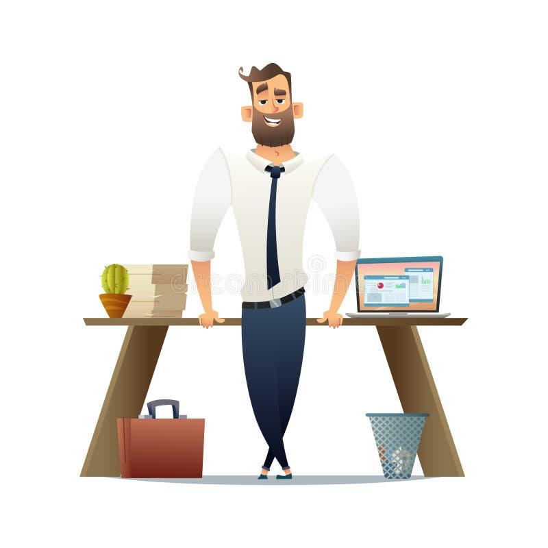 Chef- eller affärsmananseende nära hans arbetsplats Plan tecknad filmteckendesign vektor illustrationer