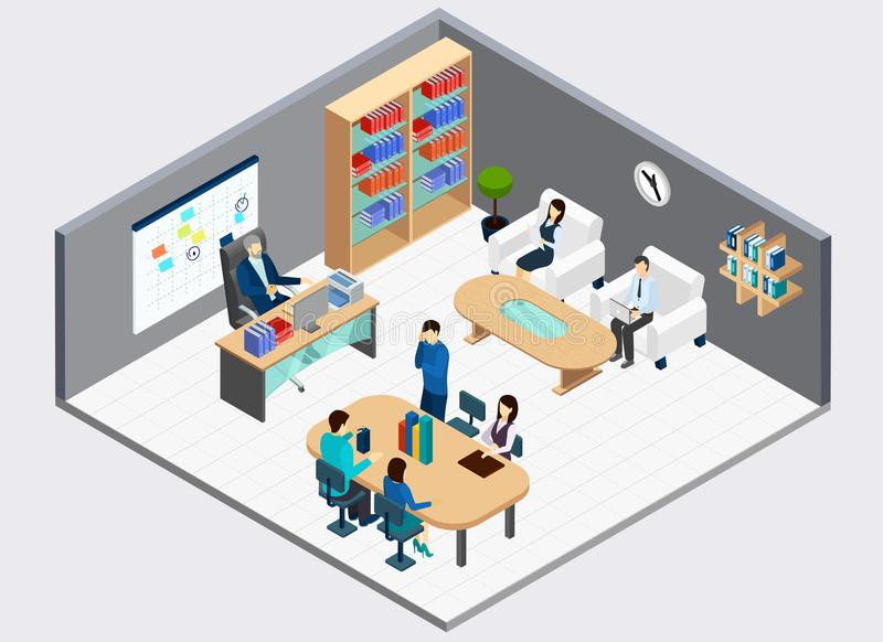 Chef- And Employees Isometric-Samenstelling stock illustratie