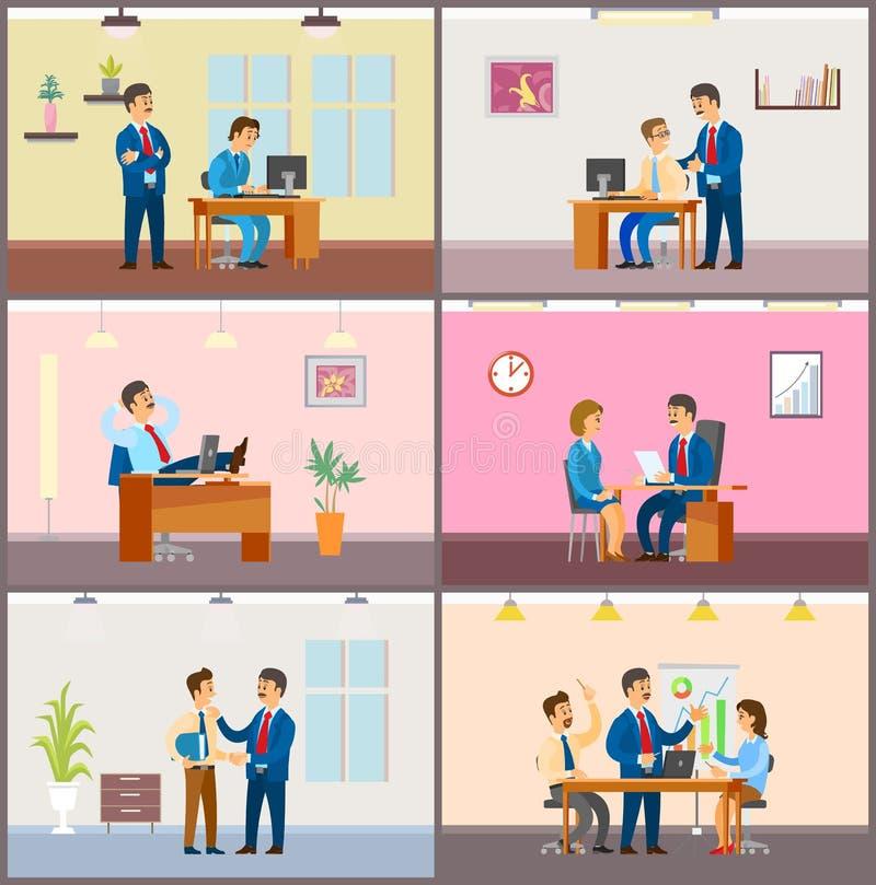 Chef- Employer met Vrouw op Gesprek, het Samenkomen stock illustratie