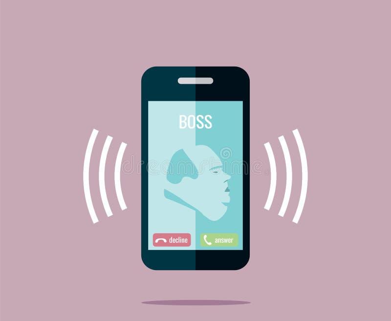 Chef ersucht um das Telefon - vector Zeichnung eines Klingelnhandys mit einem fetten Chef lizenzfreies stockbild