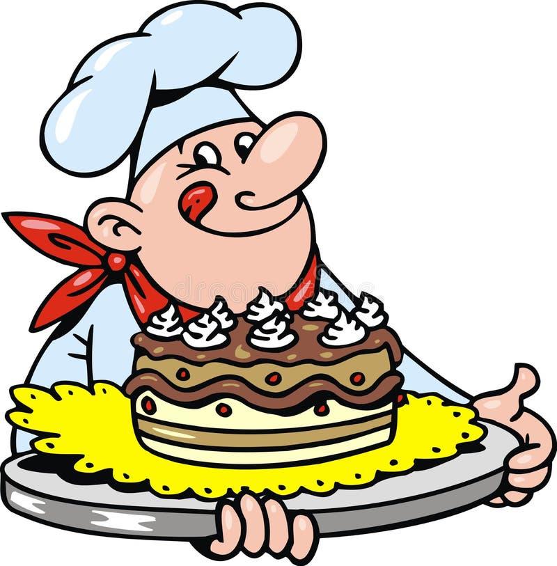 Chef et gâteau illustration stock