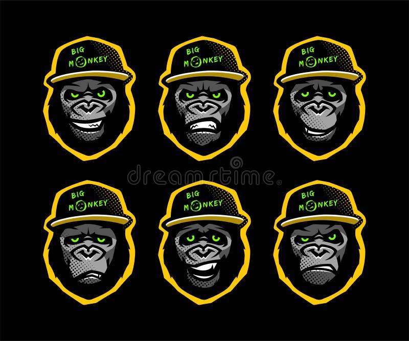 Chef fâché de gorille dans la casquette de baseball sur un fond foncé Illustration de vecteur illustration libre de droits