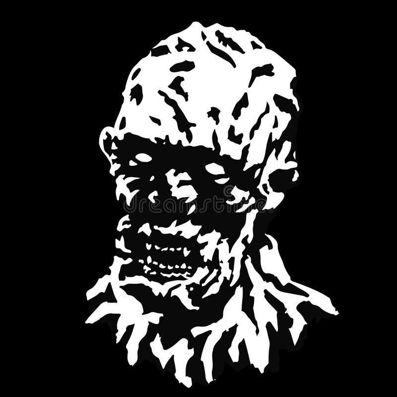 Chef fâché de vampire de goule avec un visage déchiré Illustration de vecteur illustration de vecteur