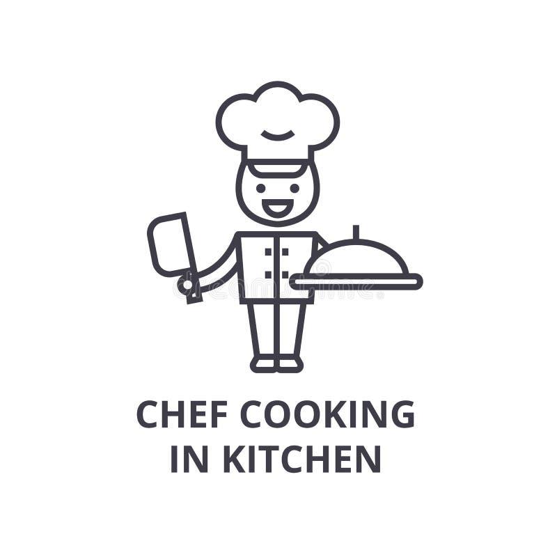 Chef faisant cuire dans la ligne icône, signe d'ensemble, symbole linéaire, vecteur, illustration plate de cuisine illustration libre de droits