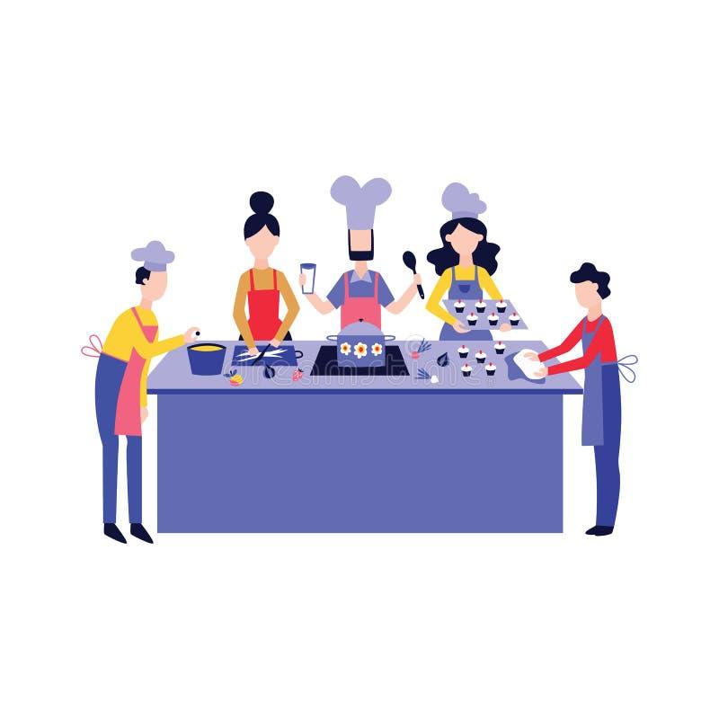 Chef faisant cuire la nourriture avec l'équipe au style plat de bande dessinée de table de cuisine illustration libre de droits