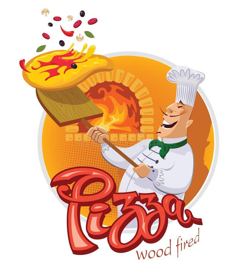 Chef faisant cuire une pizza et des jets une pelle illustration libre de droits