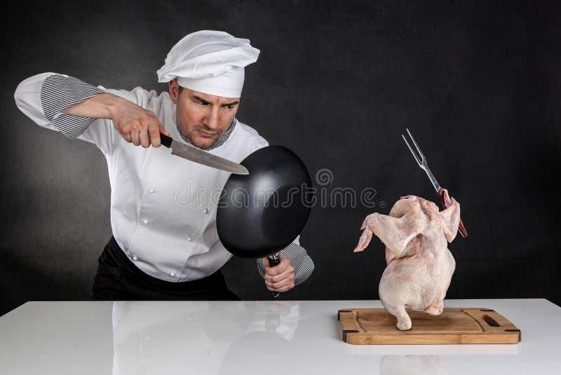 Chef Fighting lizenzfreies stockfoto