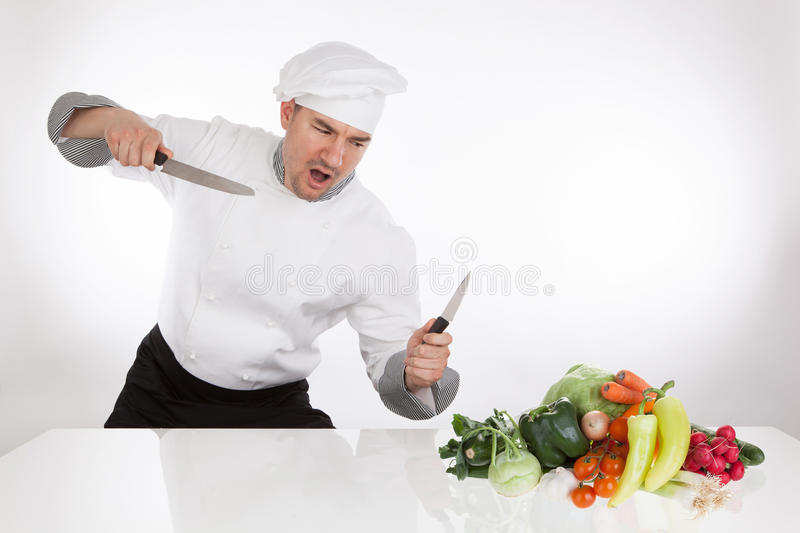 Chef fighting royalty free stock photo