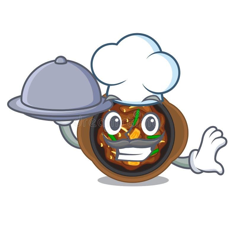 Chef with food bulgogi in the a cartoon shape. Vector illustration stock illustration