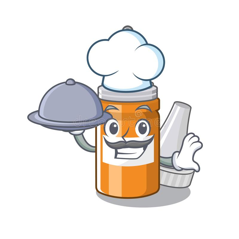 Chef with food ear drops in the mascot pillbox. Vector illustration stock illustration